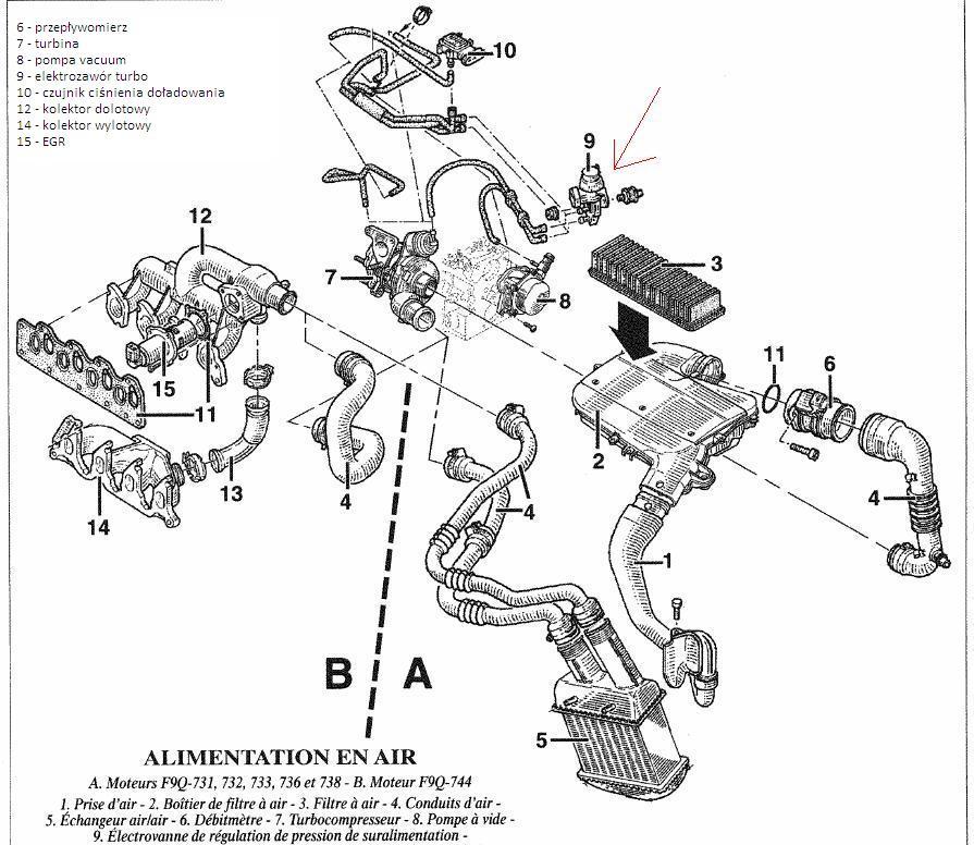 scenic i phii  wycieki oleju 1 9dci f9q - 1 9 diesel