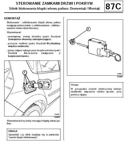 demontaż klapki wlewu paliwa clio 2